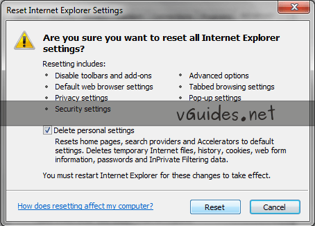 Reset Internet Explorer Settings